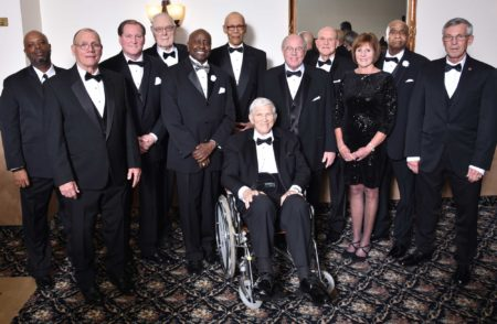 Men pose in tuxes at Indiana Basketball Hall of Fame's Annual Men's Awards Banquet