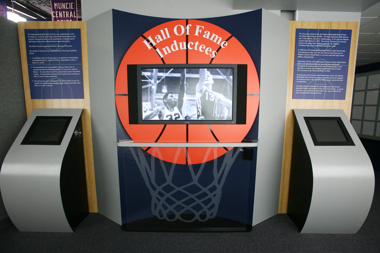 A touch-screen kiosk that allows Indiana Basketball Hall of Fame visitors to look up inductees by their name, school or age