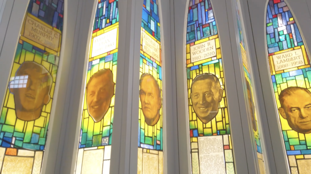 Stained glass display features a number of Indiana Basketball Hall of Fame inductees who are enshrined in the Naismith Memorial Basketball Hall of Fame