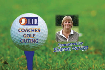 Golf ball on tee with photo of Sharon Versyp
