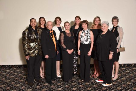 2019 woman inductees of Indiana Basketball Hall of Fame's Silver Anniversary Team smile at Women's Awards Banquet