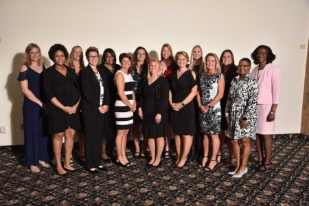 Indiana Basketball Hall of Fame's Women's Silver Anniversary Team dressed up and smiling